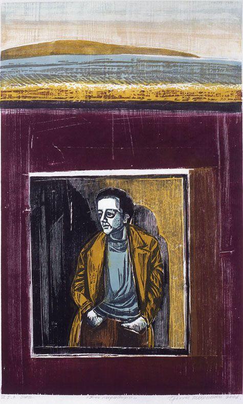 By the window. Woodcut. 2006. Tzeni Markaki.