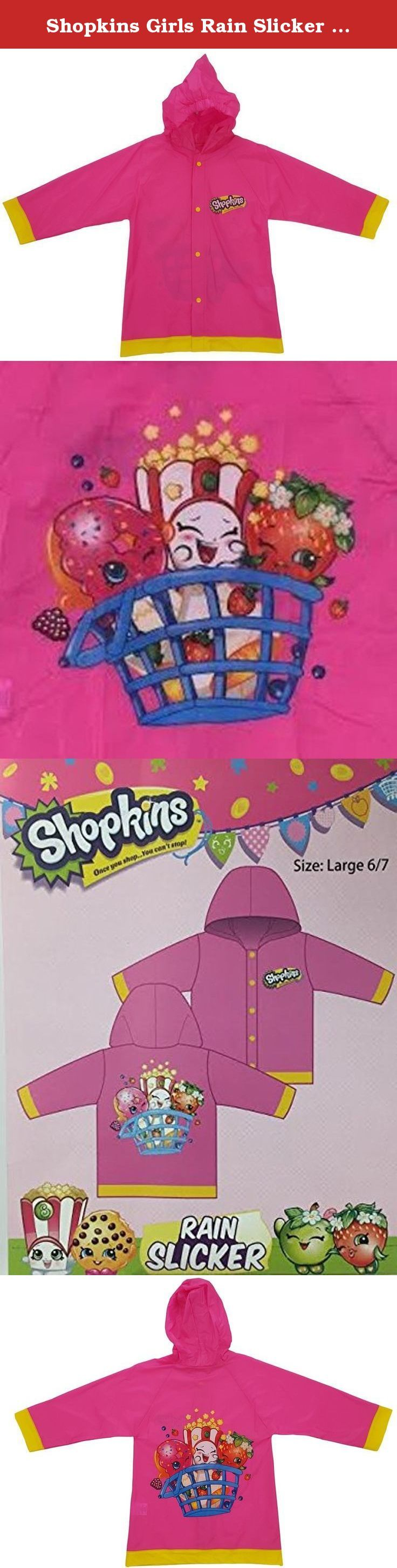 Shopkins Girls Rain Slicker Raincoat (small 2/3). 100% Vinyl. Snaps closure. Colorful graphics and detail on the front and back. Wipes clean with damp cloth. imported.