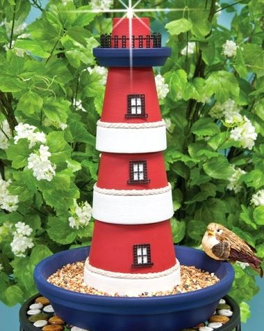 Make a Clay Plant Pot Lighthouse Birdfeeder (or fill with blue glass or sand)