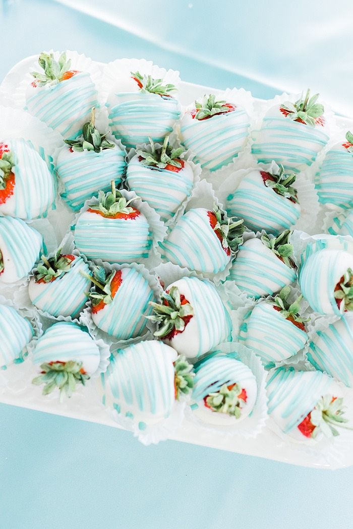 ec383e075521 Blue and white covered strawberries from a Tiffany   Co. Bridal Shower on Kara s  Party Ideas
