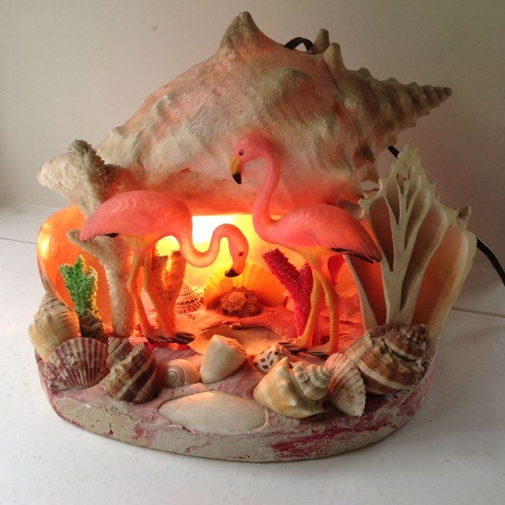 VINTAGE MID-CENTURY SEA SHELL FLAMINGO TV LAMP NIGHT LIGHT