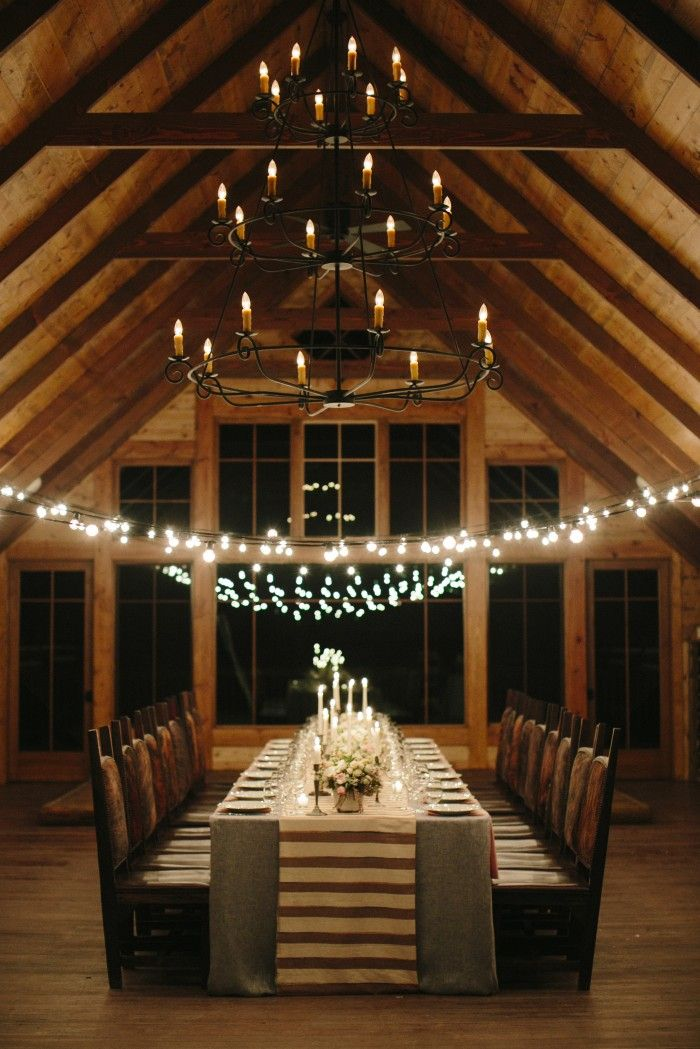 Low-hung light strings over dining table, and in opposite direction of table (via Alison Events ...