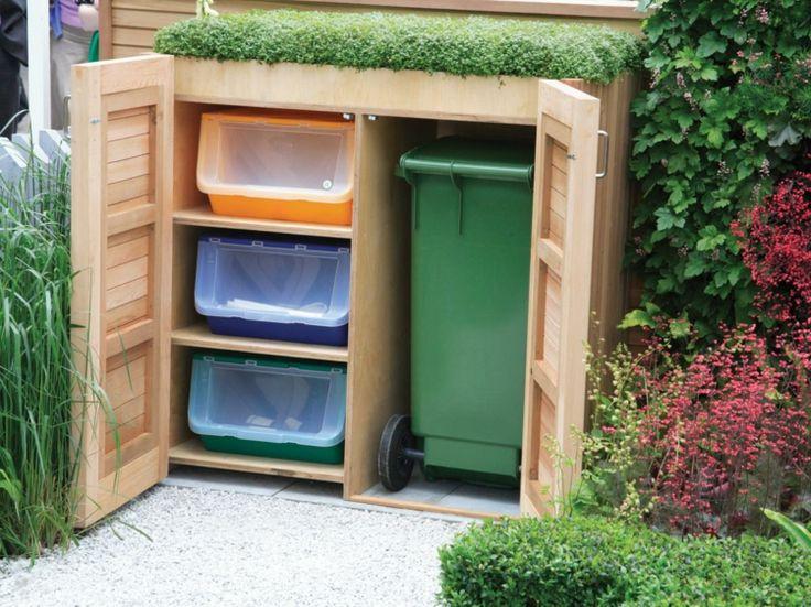 Mülltonnenbox mit Regal und grünem Dach (Outdoor Wood Roof)