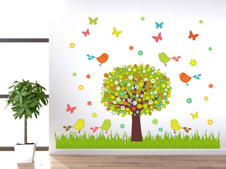Fresh Wandsticker Set Baum V gel Wiese Blumen
