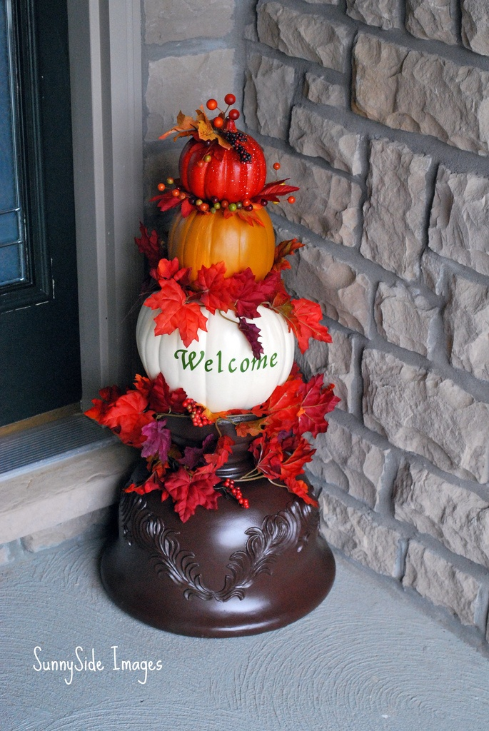 DIY Fall Topiary made from Feau pumpkins....easy and you can use every year :)