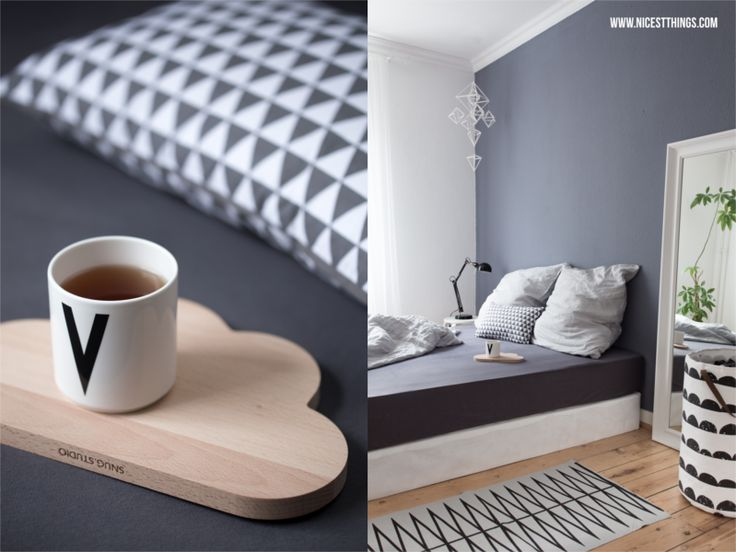 Nicest Things: Bedroom Boxspring Bed Grey Wall // Snug Studio / Design Letters / Ferm Living / Bloomingville