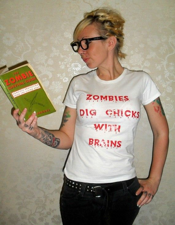 Zombies Dig Chicks With Brains Blood Dripping Horror Shirt Large. $16.00, via Etsy.