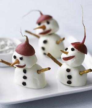 Cheesy Snowman Snacks              Bocconcini snow balls, pretzel arms and radish hats make adorable winter-time snacks!