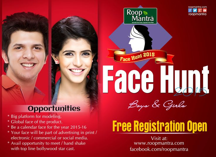 THE WAIT IS FINALLY OVER! REGISTRATIONS ARE NOW OPEN! Roopmantra Face Hunt 2015 Contest For free online registration visit @ http://roopmantra.com/roop-mantra-face-hunt-registration-fo… Use this Tag : #RoopmantraFaceHunt  Follow Us: http://bit.ly/1CPmIjs Pin & Share the contest with your friends too.  *Terms & Conditions Apply