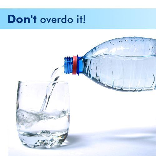 Did you know an overdose of water can also be fatal. It leads to dilution of the blood and causes hyponatremia - a disease which causes nausea, fatigue, vomiting and even mental disorientation! Also too much water means undue pressure on the kidneys. When the kidneys can't flush out the excess water, the blood becomes waterlogged and the water enters our cells which swell up like balloons. Scary, isn't it? So as a rule of thumb drink 8 to 10 glasses of water everyday. Don't overdo it!