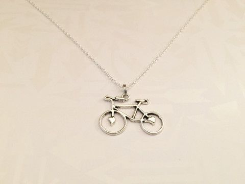 Beautiful, Unique Antiqued Silver Bicycle Necklace with Initial of Choice. Wonderful for any bicyclist or bike rider extraordinaire! Perfect gift for anyone that loves to ride bikes and be outdoors in