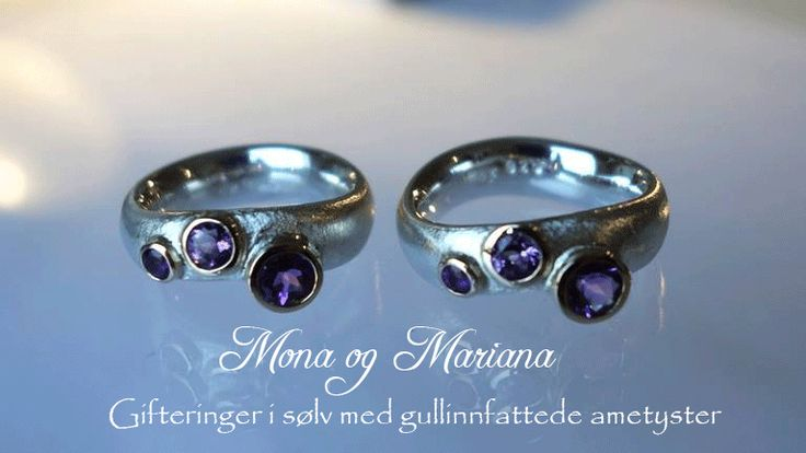 Weddingrings in silver, gold and amethysts. Handmade by jewellerydesigner Ailin Roelvaag. #weddingrings #custommade #jewellerydesign #silver #gold #amethyst #weddingbands