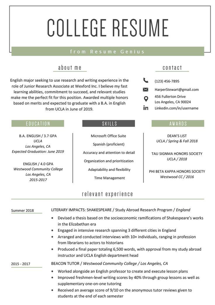 college student resume sample  u0026 writing tips