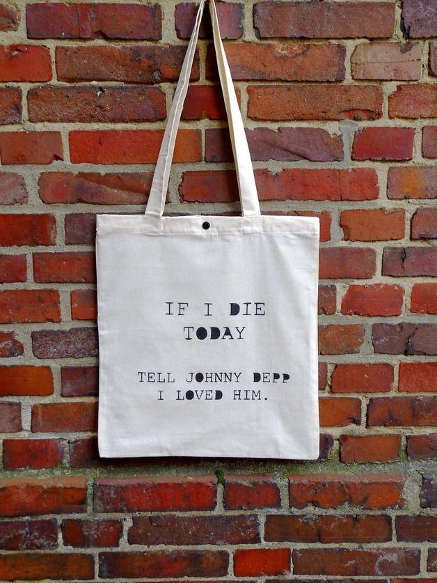 "Jutebeutel mit Spruch ""Johnny Depp"" // tote bag with print via DaWanda.com"