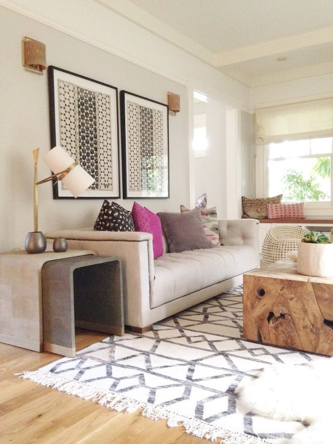 Geometric Rug Large Art A Statement Table And Accents Of Pink Purple Bohemian Living RoomsModern RoomsLiving Room DesignsNeutral