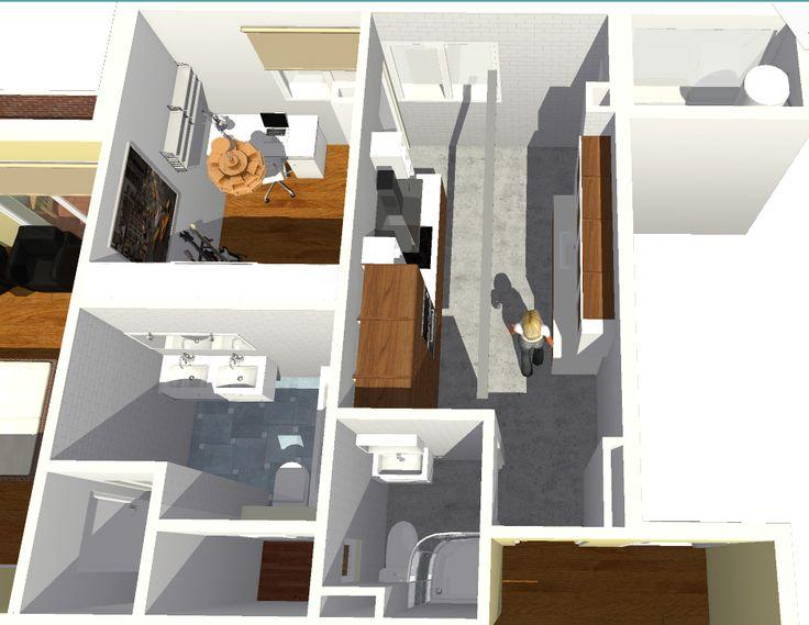 Vista de detalle de vivienda, zona de cocina y baños.