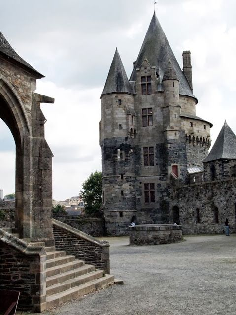 The inner courtyard of the Château de Vitré is a medieval castle in the town of Vitré, in the Ille-et-Vilaine département of France.