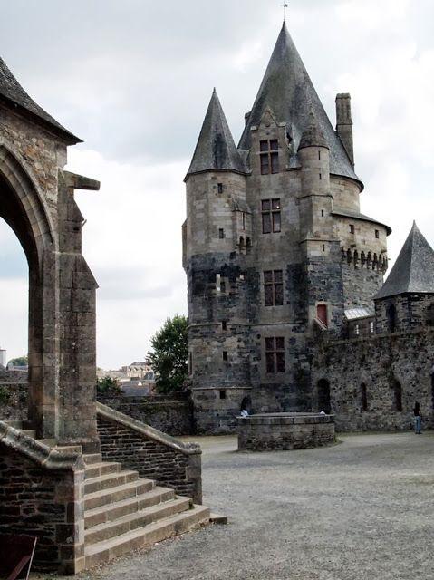 The inner courtyard of the Château de Vitré is a medieval castle in the town of Vitré, in the Ille-et-Vilaine département of France.