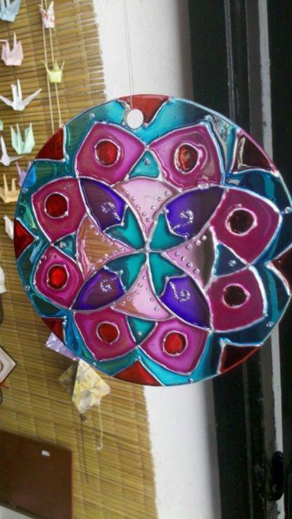 Mandala en vidrio, 12cm
