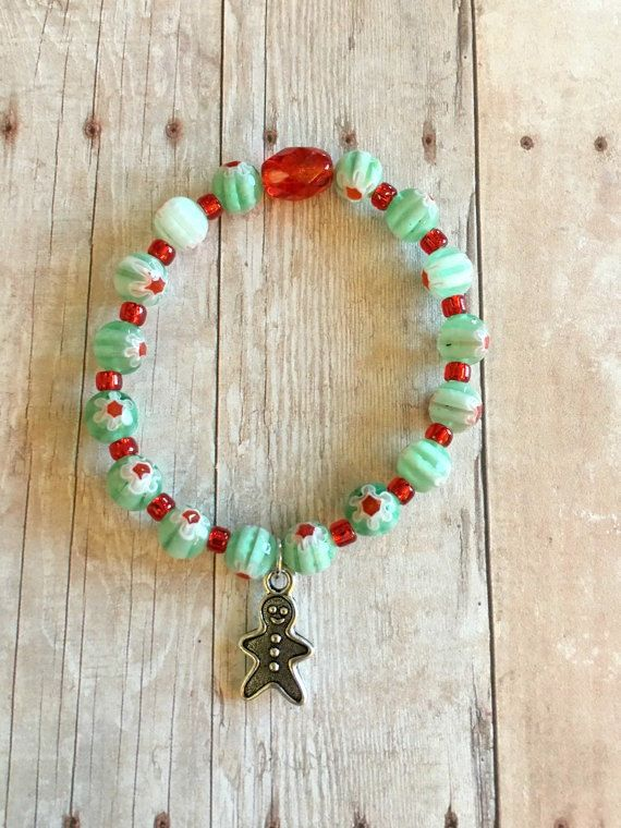 Gingerbread Man Bracelet - Girls Stretch Bracelet - Beaded Bracelet - Holiday Jewelry - Charm Bracelet - Kids Girls Bracelet - Handmade
