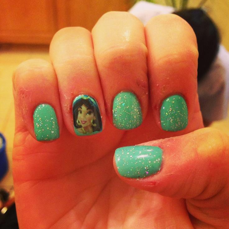 Disney Princess Nail Art: 106 Best Images About Princess Jasmine Nails On Pinterest