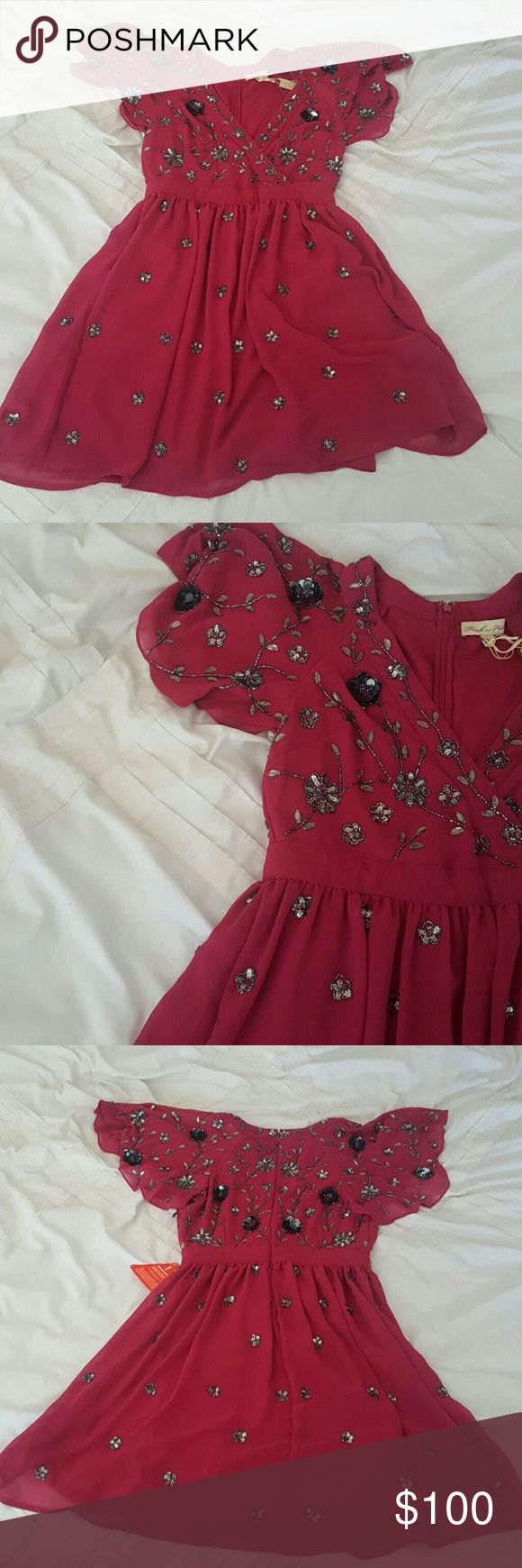 Frock and Frill Embroidered Dress An Embroidered deep fuscia A line dress Frock and Frill Dresses Mini