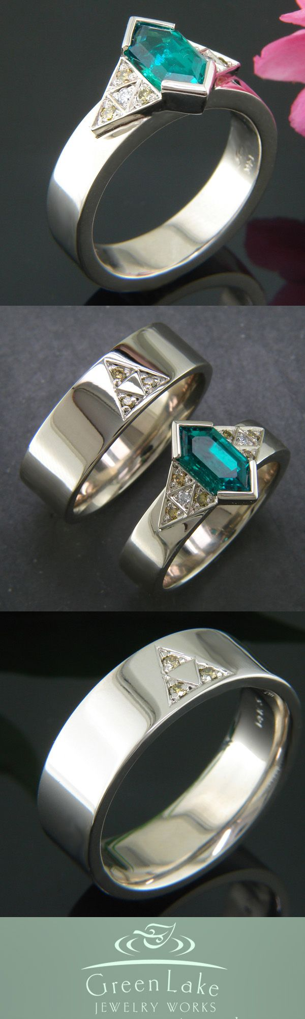 Custom White Gold Wedding Rings With The Triforce: Hers Features A Custom '