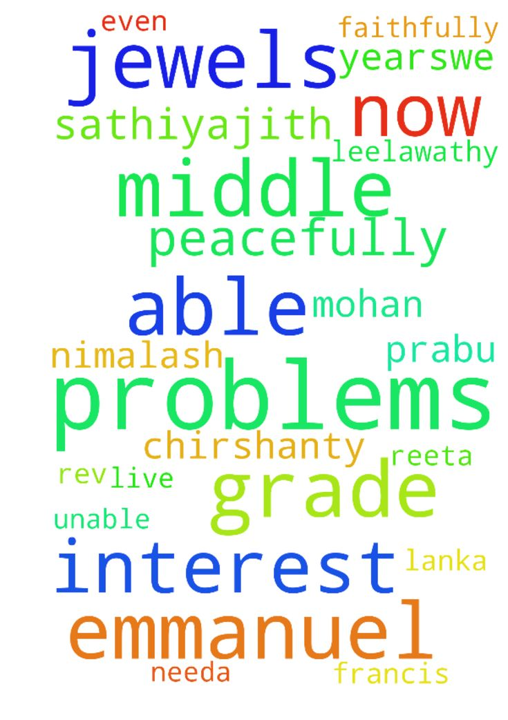 Dear RevWe are middle grade Emmanuel - Dear Rev We are middle grade Emmanuel Leelawathy , Mohan Antony Rajan Reeta , Nimalash Chirshanty , Francis Prabu Needa, Sasi Silviya , Sathiyajith thushi familys from Batticaloa,Sri Lanka. For the last few years,we are under going several problems and we are not able to come out from these problems. We have sold our property,then we have kept all the jewels in the bank and also borrowed money for interest. Now we are unable to redeem the jewels it even…