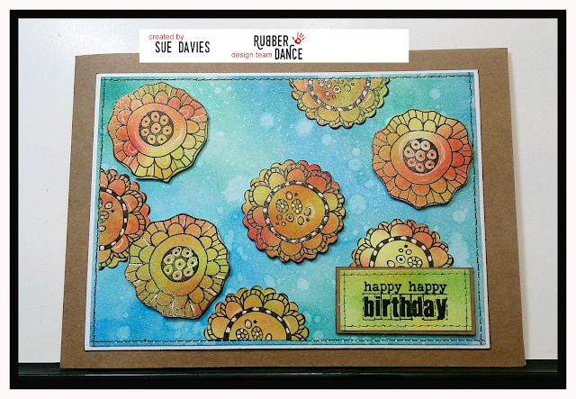 * Rubber Dance Blog *: Simplicity Sunday - A Birthday Card with Crazy Flower stamps