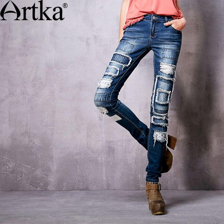Artka женские новинка весна винтаж all матч модные удобные эластичные джинсы зауженного кроя джеггинсы женские брюки карандаш KN10569Cкупить в магазине ArtkaнаAliExpress