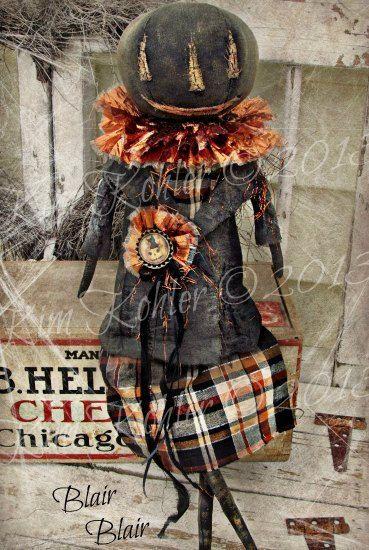 Primitive Pumpkin Doll Folk Art Orange Black Hand Made Fabric Cloth ooak Halloween Vintage Blair Veenas Mercantile - pinned by pin4etsy.com