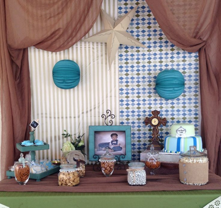 Baptism, boy baptism, boy party, decorations, christening, centerpiece, vintage, candy bar, snack bar, cookies, cake