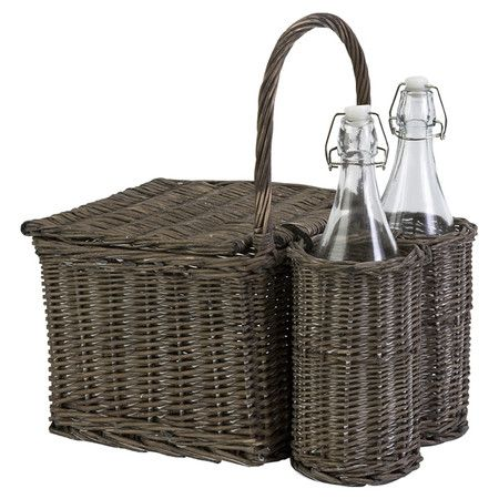 Willow Picnic Basket & Bottle Set