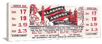 Alabama won the 1964 National Title. Here is the 1964 Alabama vs. Auburn football ticket on canvas. http://www.shop.47straightposters.com/1964-Alabama-vs-Auburn-Football-Ticket-Art-64ALAub.htm