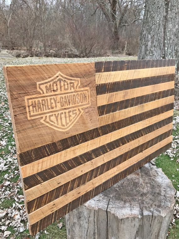 Rustic Distressed Harley Davidson Wood Flag by JWCraftsmanStore