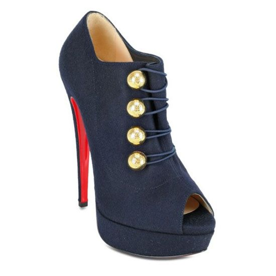 Christian Louboutin Loubout 150 Flannel Ankle Boots Blue Red Sole ...