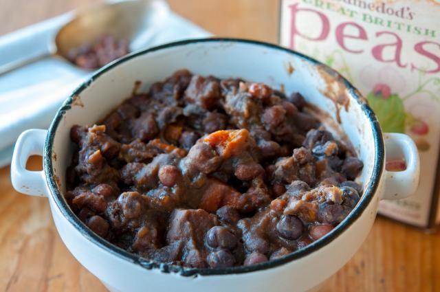 Lancashire Black Peas and Vinegar are traditionally served on Bonfire night not unlike mushy peas but using Black Badger Peas and malt vinegar instead