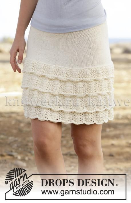 Короткая юбка спицами с воланами