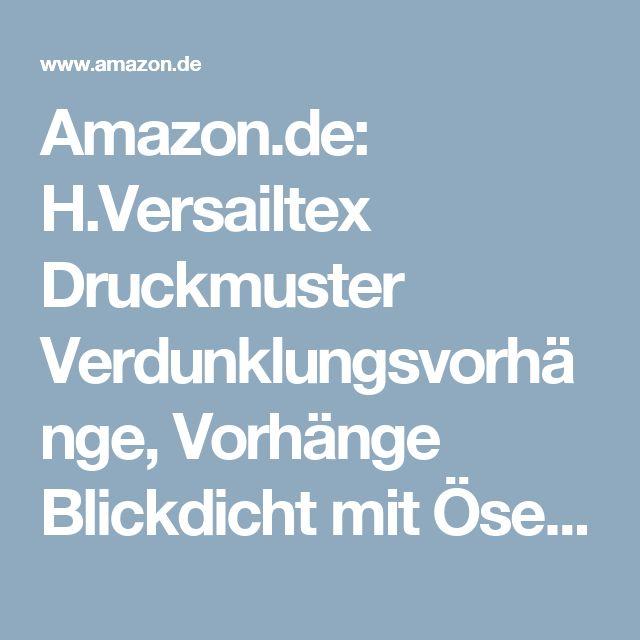 Amazon.de: H.Versailtex Druckmuster Verdunklungsvorhänge, Vorhänge Blickdicht mit Ösen 2 Stück 245 CM
