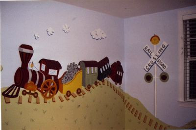 Train Themed Mural Ideas   RR Crossing make the X out of wood - texture on the wall - not painted