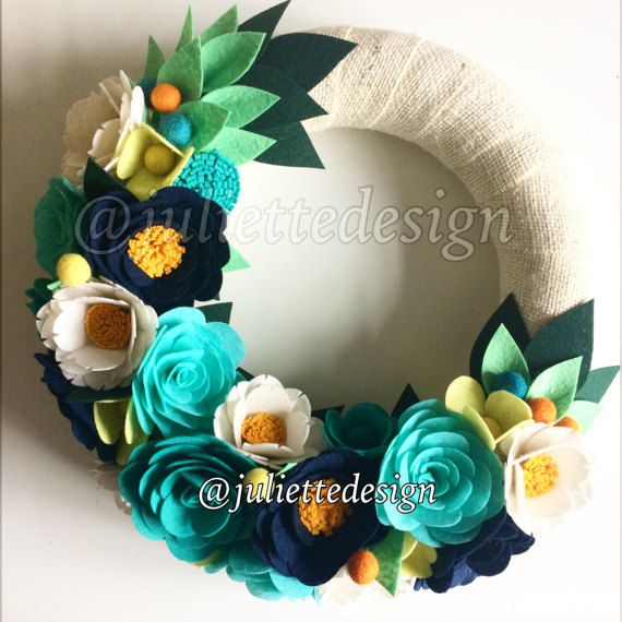 Spring Wreath Felt Wreath Colorful Wreath Wreath Door