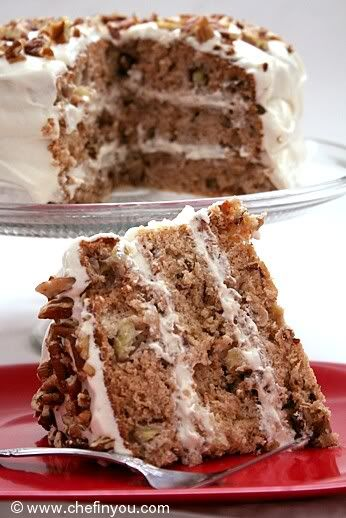 Hummingbird Cake (low calorie) 3 cups all-purpose Flour 1 tsp Baking Soda 1 tsp Salt 1-1/2 cups Sugar 1 tsp ground Cinnamon 4 large Egg Whites 3/4 cups mashed/pureed Banana 1/2 cup Vegetable Oil 2 cups chopped Bananas 1-1/2 tsp Vanilla Extract 1 (8-ounce) can crushed Pineapple, undrained 1 cup chopped Pecans