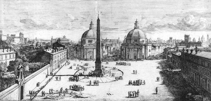 View of Piazza del Popolo by Caspar van Wittel (circa 1678).