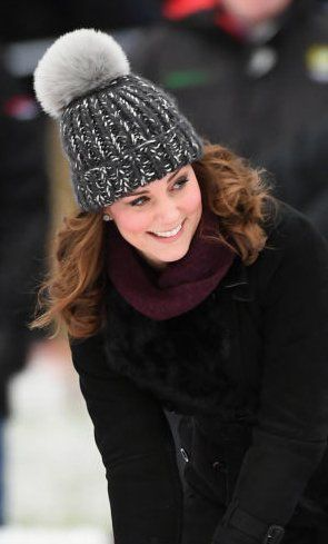 Almost 7 months pregnant and on the ice in Sweden/Norway visit looking stunning and stylish.  Love her enthusiasm and laughter! 2018