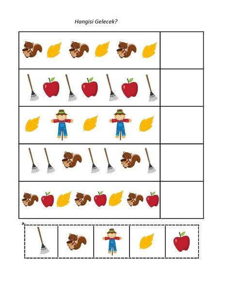 Bu sayfamızda okul öncesi sonbahar konulu çeşitli etkinlikler yer almaktadır.  Okul öncesi sonbahar konulu örüntü çalışması Ana sınıfı sonbahar konulu puzzle çalışması Sincap konulu çalışmalar Yaprak ve elma konulu çalışmalar Sonbahar hangisi farklı etkinliği Okul öncesi sonbahar konulu matematik etkinlikleri Eğlenceli sayılar Okul öncesi sonbahar konulu nokta birleştirme çalışması Eksik sayılar çalışması  gibi etkinliklerimiz bulunmaktadır.İyi eğlenceler... Ana sınıfı mevsimler konulu…