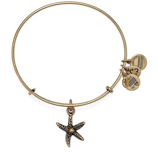 Alex and Ani 'Starfish' Bangle Bracelet ($28) ❤ liked on Polyvore featuring jewelry, bracelets, gold, bangle bracelet, alex and ani charms, gold tone charms, starfish bangle and dangle charms
