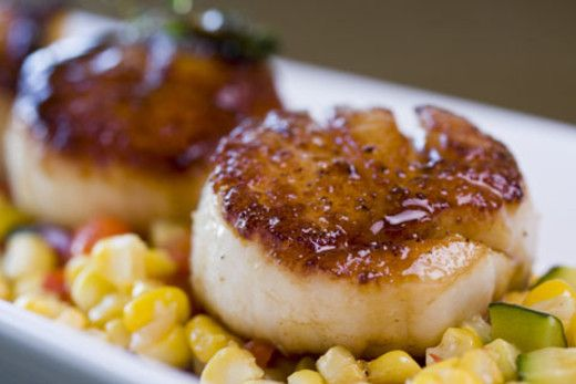 lemon and vodka pan seared scallops with summer succotash recipe ...