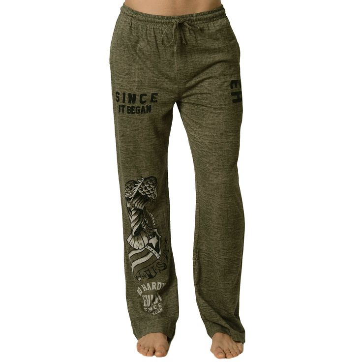 Ed Hardy Men's USA Eagle Lounge Pants – Green Dust