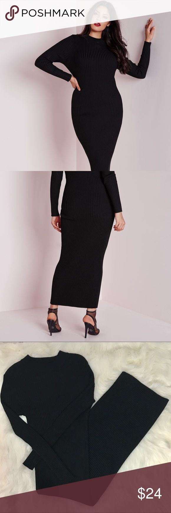 "Missguided ""Maxi"" Style Ribbed Dress Maxi style ribbed knitted dress.  ""Plus Size"" UK16/US12.   -very stretchy -approx length 55.5"" -excellent condition Missguided + Dresses Maxi"