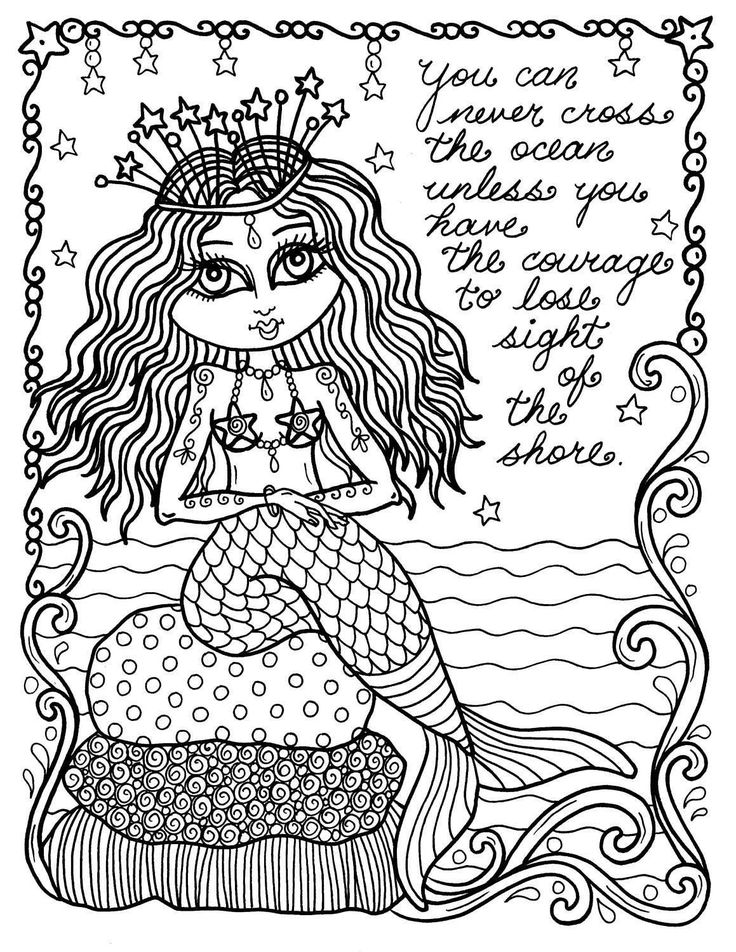 287 Best Mermaid Coloring Pages For Adults Images On